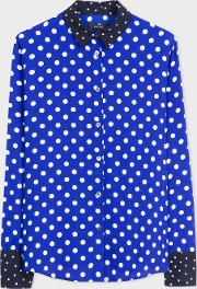 Women's Blue And White Polka Dot Shirt With Contrast Details