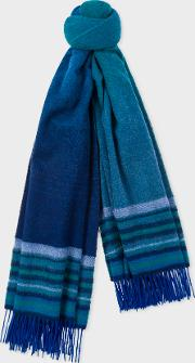 Women's Blue Ombre Lambswool And Cashmere Scarf
