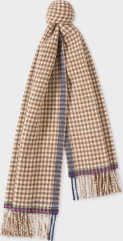 Women's Brown Check Double Sided Wool Scarf