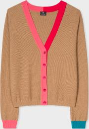 Women's Camel Wool Cotton Cardigan With Contrast Trims