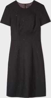 Women's Charcoal Grey Flecked Wool Blend Shift Dress