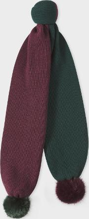 Women's Green And Burgundy Ribbed Scarf With Pom Poms