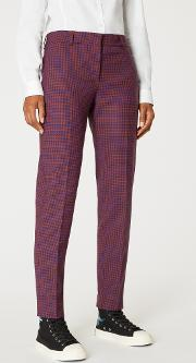Women's Maroon Check Classic Fit Wool Blend Trousers