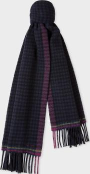 Women's Navy Check Double Sided Wool Scarf