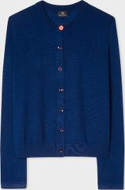 Women's Navy Merino Wool Cardigan With Openwork Cuff