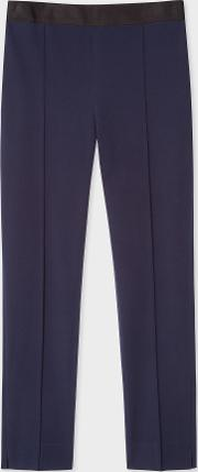Women's Navy Stretch Cotton Skinny Fit Trousers