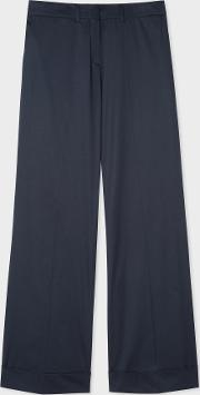 Women's Navy Stretch Cotton Wide Leg Trousers