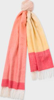 Women's Pink And Yellow Ombre Lambswool And Cashmere Scarf