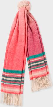Women's Pink Ombre Lambswool And Cashmere Scarf