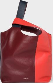 Women's Red Colour Block Leather Tote Bag