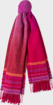 Women's Red Ombre Lambswool And Cashmere Scarf