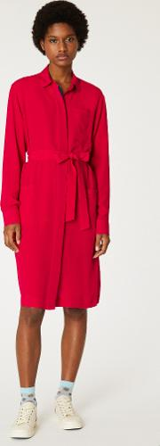 Women's Red Silk Blend Shirt Dress With Contrasting Trims