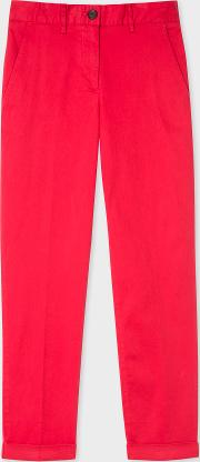 Women's Red Stretch Cotton Chinos