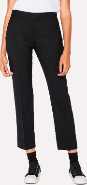 Women's Slim Fit Black Wool Hopsack Trousers With 'acapulco' Linings