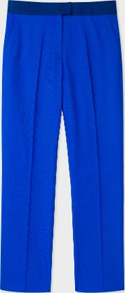 Women's Slim Fit Cobalt Blue Wool Hopsack Trousers With Contrast Waistband