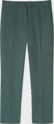 Women's Slim Fit Forest Green Cotton Blend Flannel Trousers