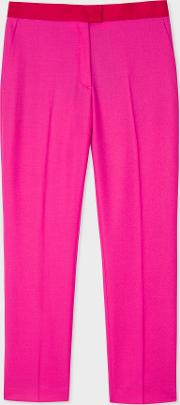 Women's Slim Fit Fuchsia Wool Trousers With Contrasting Waistband