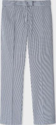 Women's Slim Fit Navy Gingham Cotton Trousers