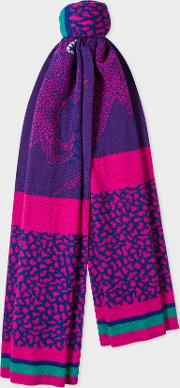 Women's Violet And Pink 'dino' Wool Scarf