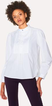 Women's White Band Collar Stretch Cotton Shirt