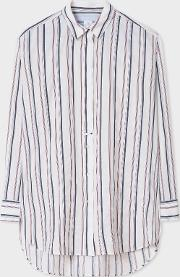 Women's White Thin Stripe Cotton Blend Shirt