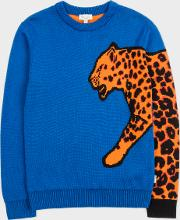 Boys' 7 Years Blue Cotton Blend Cheetah Sleeve Sweater