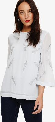 Odette Embroidered Feather Blouse