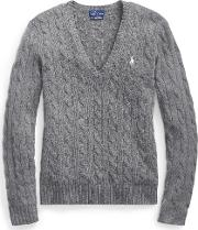Cable Knit Wool V Neck Sweater
