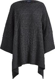 Cable Wool Blend Poncho