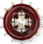 Crest Faux Pearl Brooch
