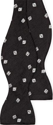 Dice Embroidered Silk Bow Tie