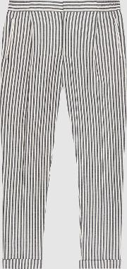 Bach Striped Pleat Front Trousers