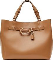 Bleecker Womens Structured Leather Tote In Brown