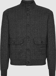 Chester Cotton Blend Pinstriped Bomber Jacket