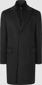 Coal Overcoat With Removable Insert
