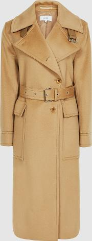 Everley Wool Blend Belted Trench Coat