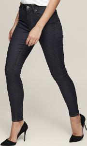 Helvin Dark Indigo High Rise Skinny Jeans In  Womens