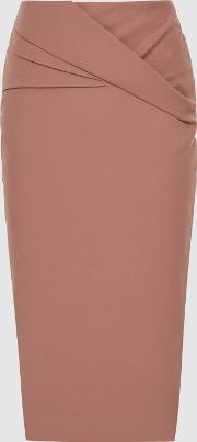 Icia Pleat Front Jersey Pencil Skirt