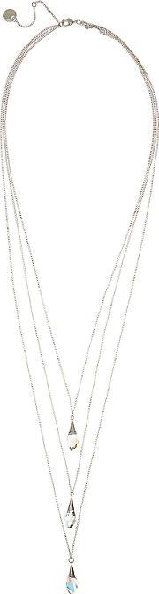 Ister Womens Layered Drop Necklace With Crystals From Swarovski In Grey