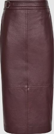 Kai Leather Pencil Skirt