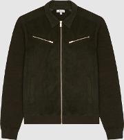 Luciano Suede Front Knitted Zip Through
