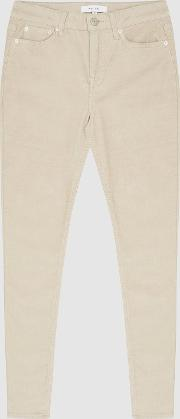 Lux Cord Mid Rise Skinny Corduroy Trousers
