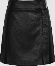 Maxwell Leather Wrap Front Mini Skirt