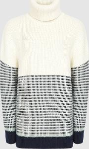 Mercy Paneled Knitted Jumper In Navy & Cream, , Size M