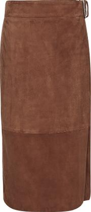 Milly Suede Midi Skirt