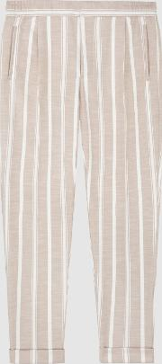 Morris Pleat Front Striped Trousers