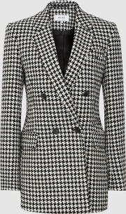Rose Double Breasted Puppytooth Blazer