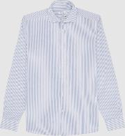 Rothers Cotton Seersucker Shirt In Blue & White, , Size M