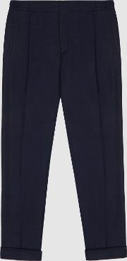 Seto Wool Blend Pleat Front Tapered Trousers