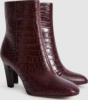 Sophia Croc Leather Ankle Boots